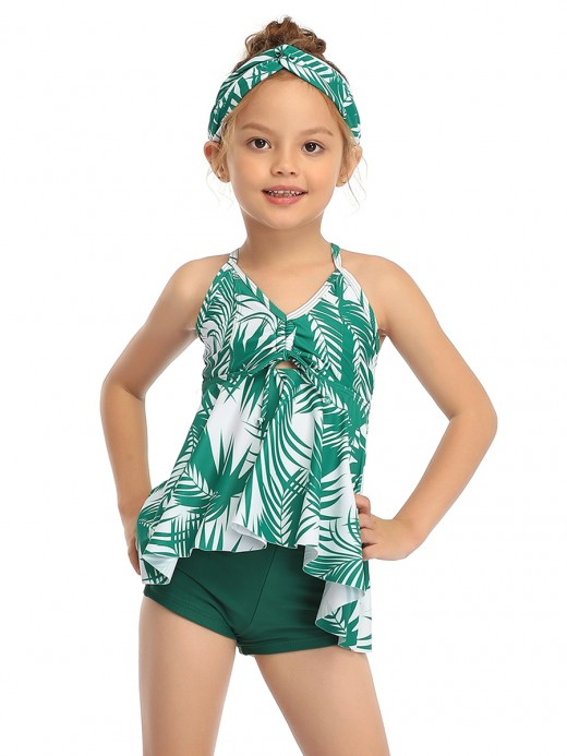 Extra Sexy Green Family Open Back Swimsuit High-Low Hem Womenswear