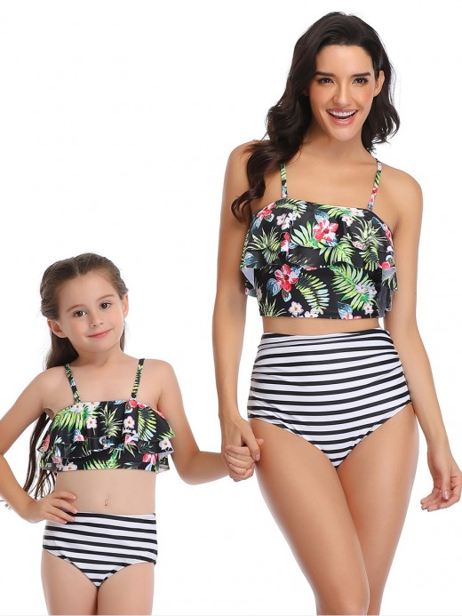 Naughty Green 2 Pieces Mom Girl Swimwear Flower Pattern Unique Fashion