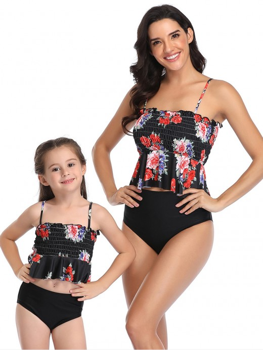 Breathable Black High Waist Backless Mom Daughter Swimwear Seamless