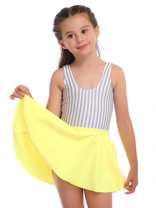 Boldly Yellow U Neck Patchwork Mom Kid Swimsuit Summer Fashion