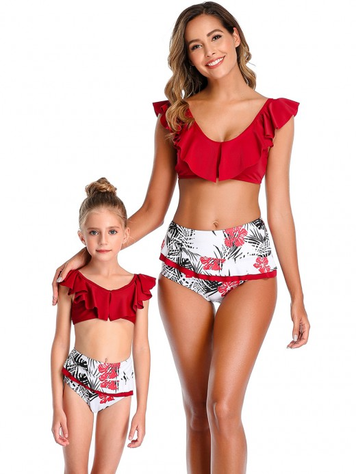 Chic Wine Red Adjustable Strap Mother Daughter Swimsuit