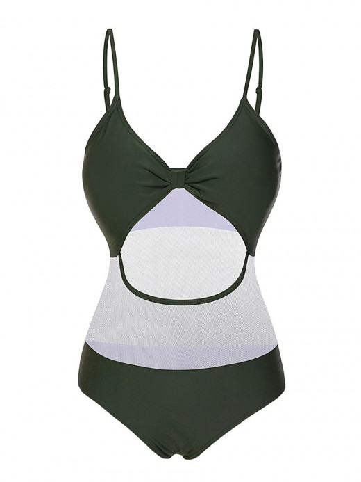 Vivifying Blackish Green Hollow Out One Peice Beachwear Sling