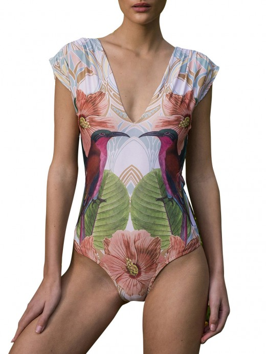 Fascinating Eagle Print High Cut Strap Swimwear Latest Trends