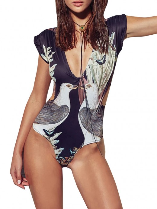 Hawaii Monokini Eagle Pattern High Cut Feminine Confidence