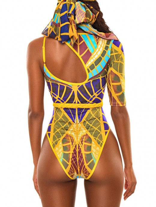 Bandeau Style Blue High Cut Totem Print One-Piece Swimsuit