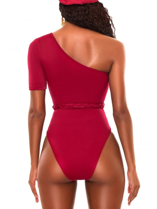 Glorious Red Oblique Shoulder High Waist Swimsuit Essential Choice