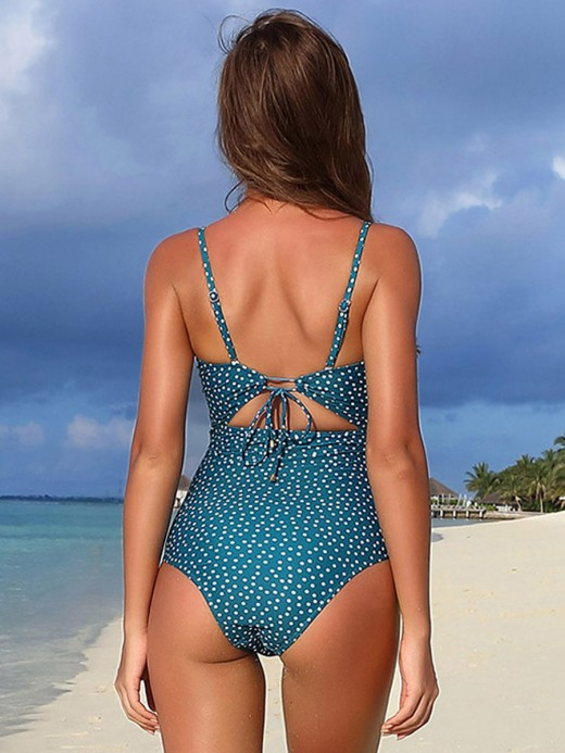 National Style Turquoise Blue High Cut Backless One Piece Beachwear