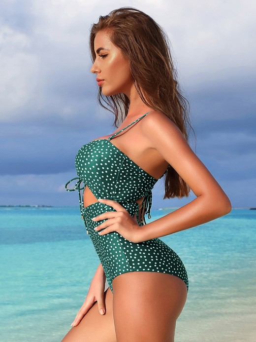 Tight Green Hollow Out Beachwear Polka Dots Fashion Trend