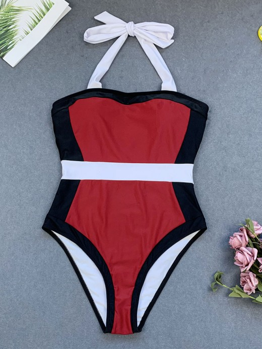 Wine Red One Piece Swimwear Open Back Patchwork For Every Occasion