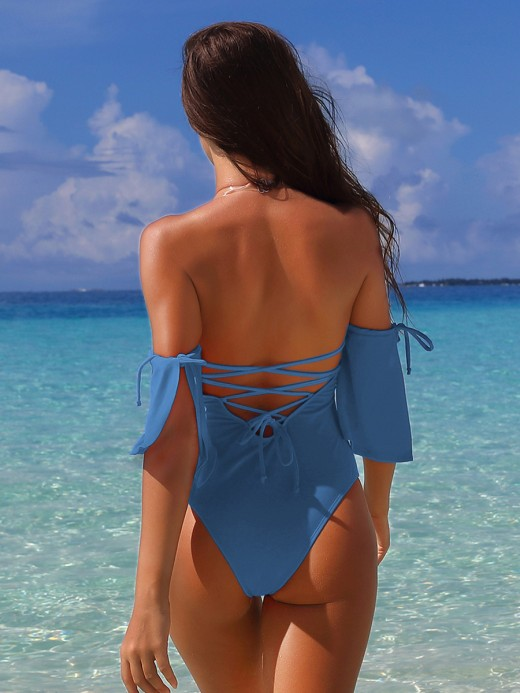 Light Gray Backless Lace-Up One Piece Swimwear Women's Fashion