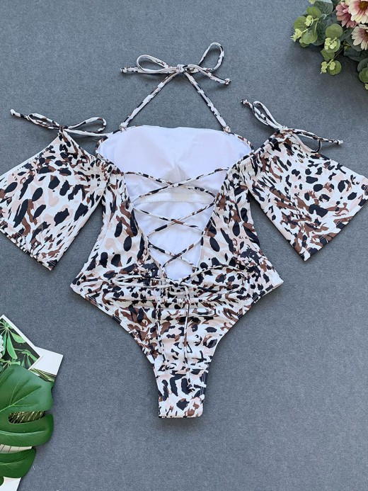 Flirty Slit Leopard Paint 1 Pcs Beachwear Girls