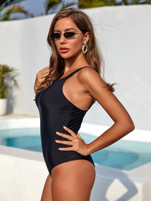 Sunny Black Slender Strap Swimwear One Piece Soft-Touch