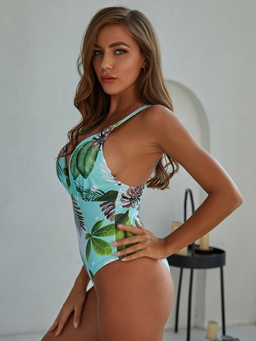 Inviting Leaf Printed Beachwear Open Back For Adult
