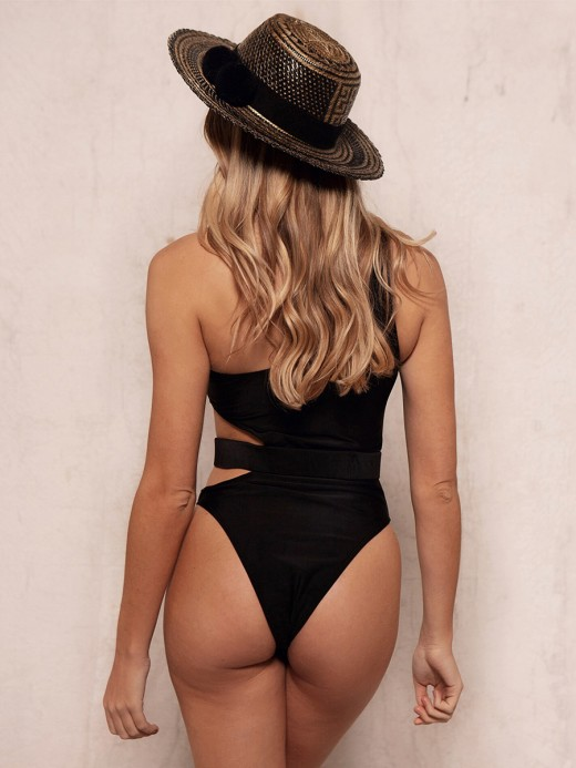 Simply Chic Black Hollow Out Swimwear One Shoulder Nice Quality