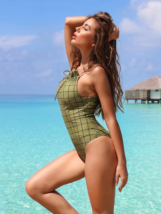 Alluring Army Green Plaid Pattern Swimwear Lace-Up Back