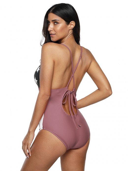 Comfortable Light Pink High Waist Striped Print Swimsuit