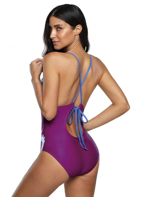 Splendid Purple Abdominal Control High Cut Leg Swimsuit