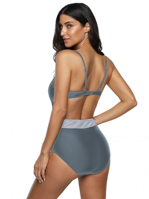Hawaii Gray High Cut Leg One Piece Swimsuit