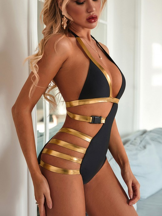Ultra Hot Black Hollow Out One Piece Swimwear Patchwork For Sexy Women