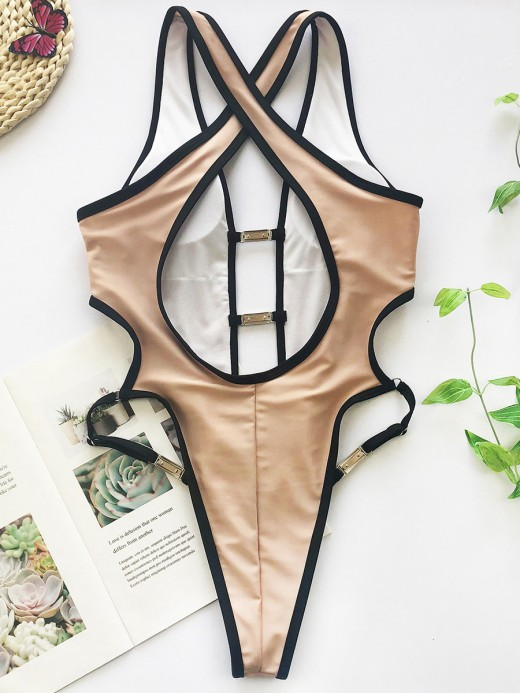 Multi-Function Khaki One Piece Swimsuit Wide Strap High Cut Understated Design