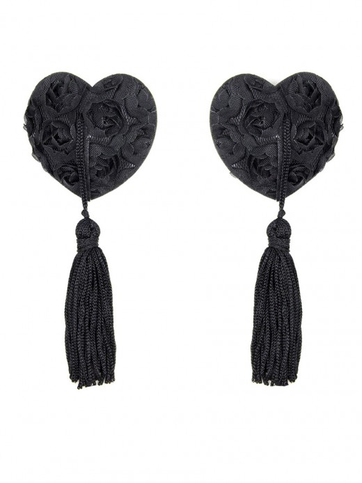 Attractive Black Rose Heart Shape Tassel Beast Pasties Slinky Figure