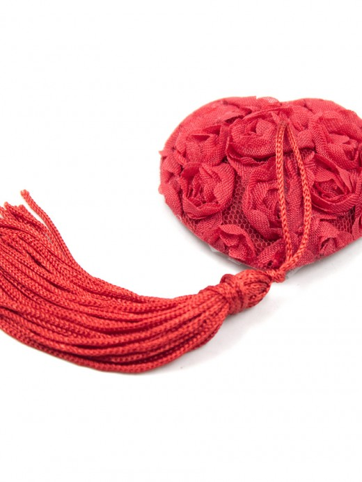 Cheeky Red Heart Shape Rose Tassel Nipple Cover Romance Time