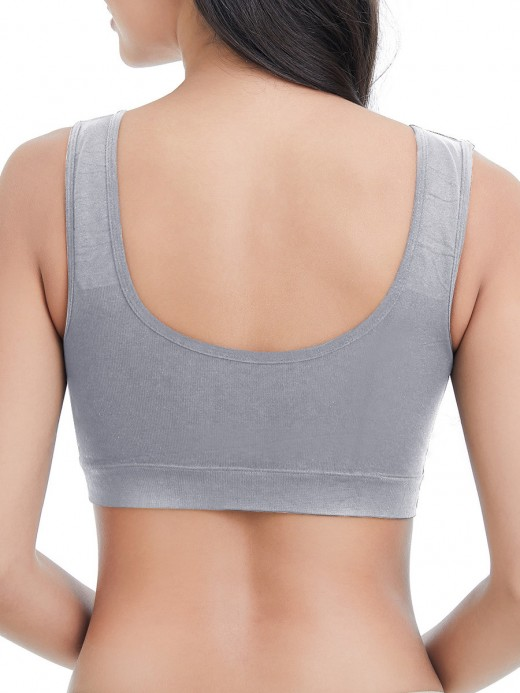 Smooth Gray Plunge Collar Nursing Bra Solid Color Online Inexpensive