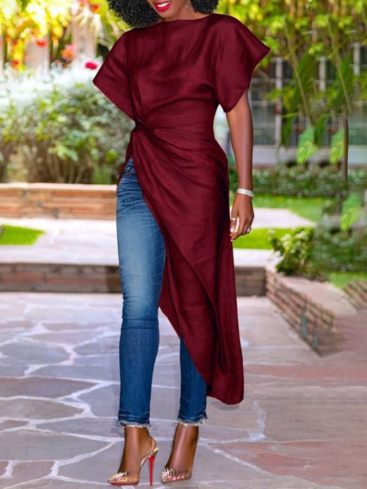 Exotic Wine Red Split Ruched Shirt Plain Short Sleeves For Traveling