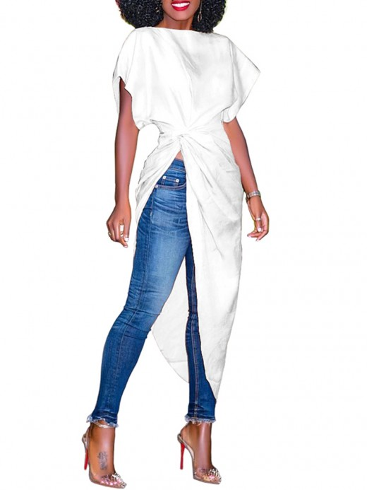 Stretch White Twisted Slanted Hem Solid Color Shirt Nice Quality