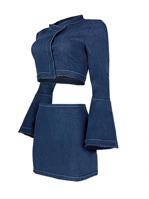 Typical Deep Blue Bell Sleeve Crop Shirts And Jean Skirt Women's Tops