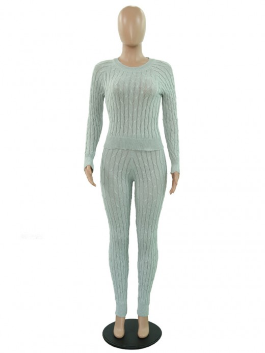 Splendor Gray Full-Length Sweater High Waist Pants Fashion Online