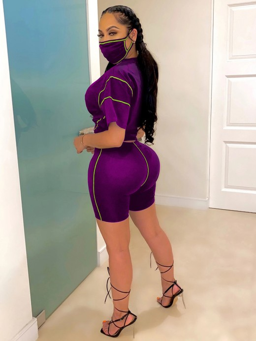 Excellent Purple Sweat Suit With Mask Short-Sleeve Knot