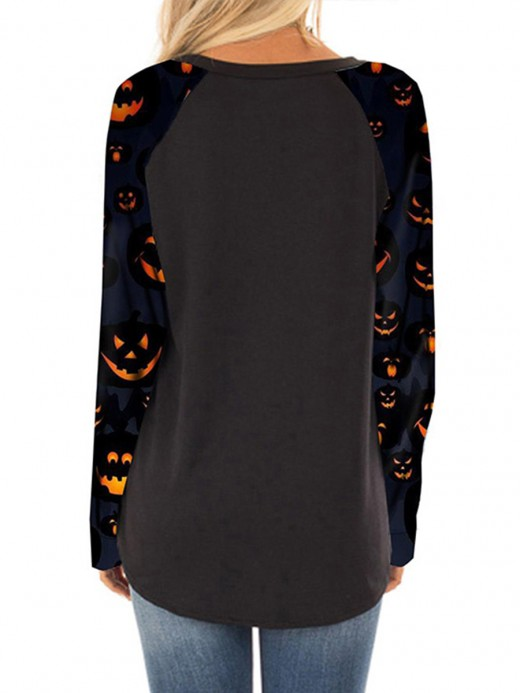 Loose Black Halloween Long-Sleeved Print Shirt For Sexy Women