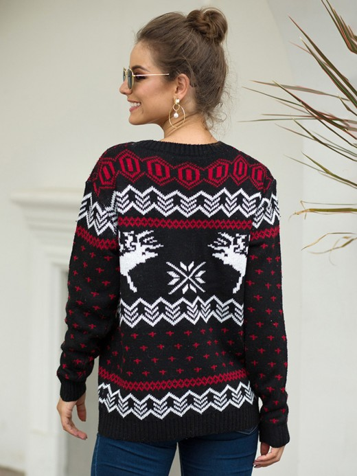 Bewildering Black Jacquard Sweater Long Sleeve Knit For Vacation