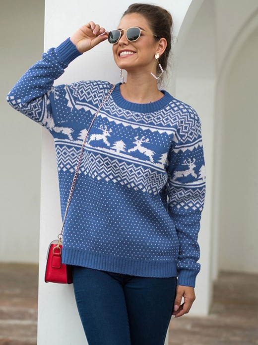 Innovative Blue Round Collar Sweater Long Sleeve Understated Design