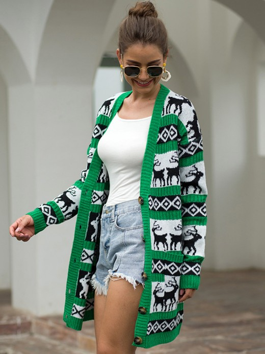 Innovative Green Cardigan Button Front Elk Pattern Super Sexy