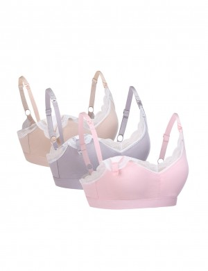 Clip Down Lace Patchwork Nursing Bras 3 Pack