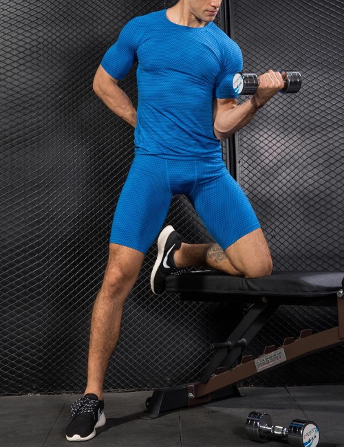 Creative Blue Running T-Shirts Solid Mesh Short Sleeve Moving Online