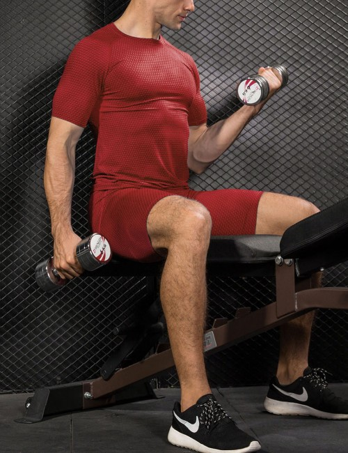 Alluring Red Crew Neck Dry Fit Mesh Athletic Shirts Tight