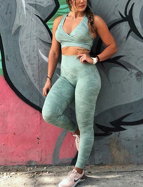 Running Green Gathered Crop Top Full Length Leggings For Street Snap